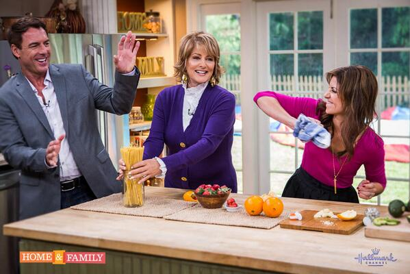 "Pre towel-throw with Hallmark's ""Home & Family"" hosts Cristina Ferrare and Mark Steines (hey, he deserved it)."