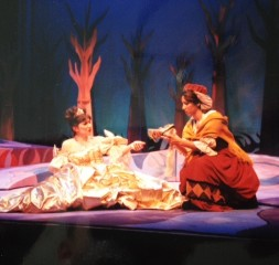 Cinderella (me) loses her shoe. Into the Woods, UCLA. 1998.